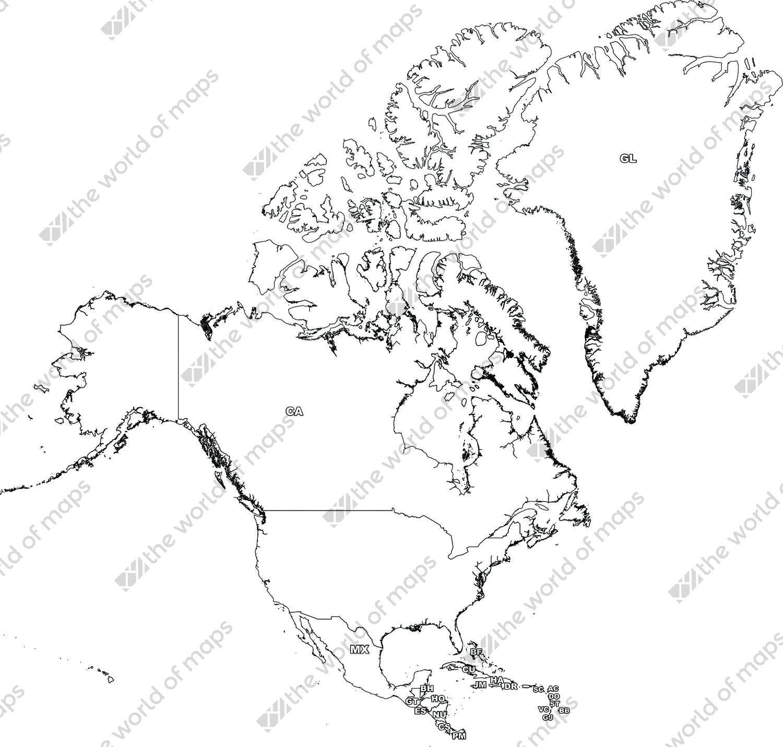 Digital map of North America (free)