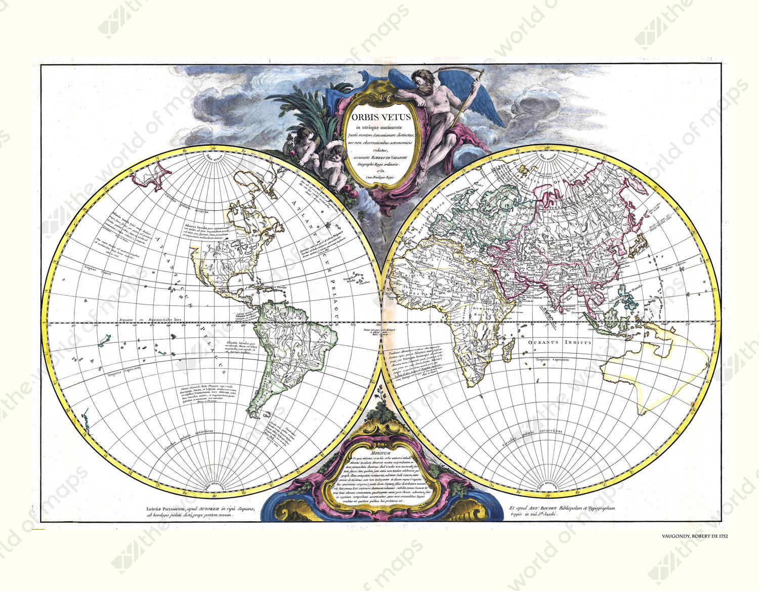 Digital world map year 1752 robert de vaugondy 1347 the world of digital world map year 1752 robert de vaugondy gumiabroncs Image collections