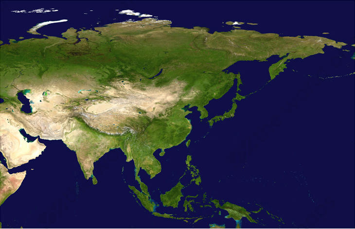 Digital Satellite Image Asia 1331 | The World of Maps com