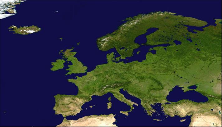 Digital satellite image Europe