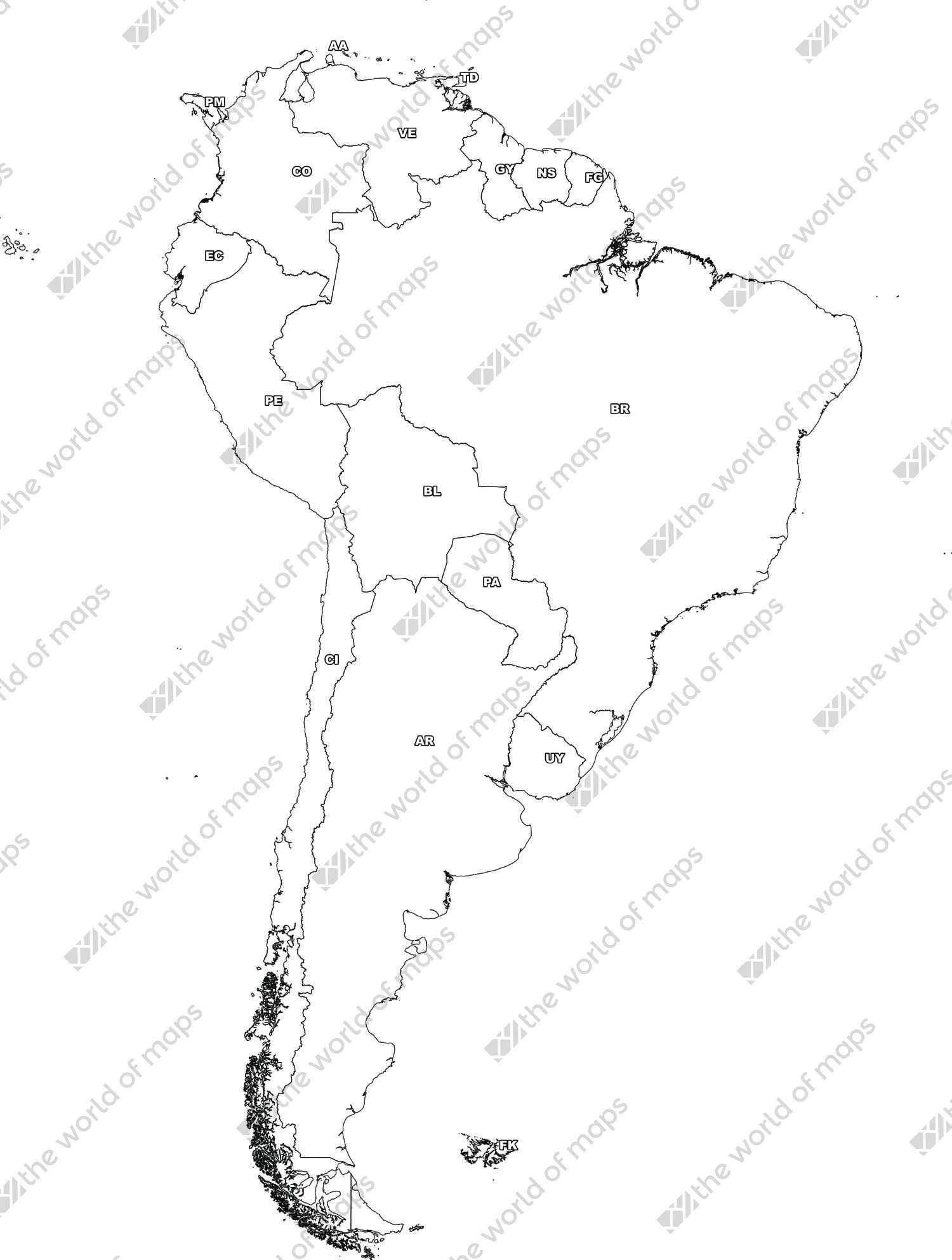 Digital map of South America (free)