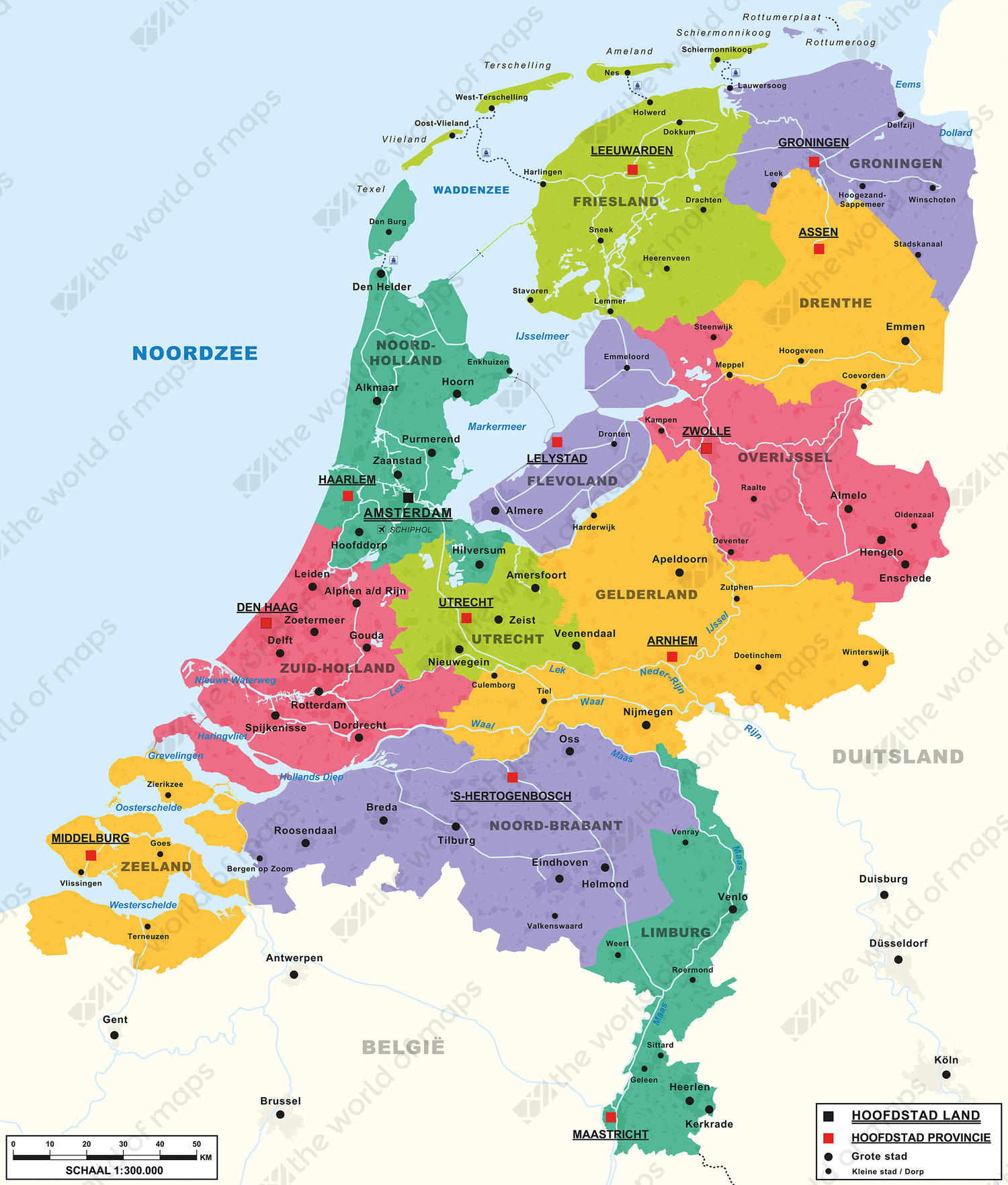 Image of: Digital Basic Map Of The Netherlands 462 The World Of Maps Com