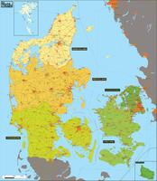 Digital region map Denmark