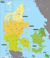 Digital basic region map Denmark