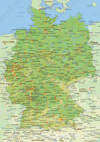 Digital physical map of Germany