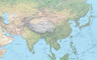 Digital map Central Asia physical
