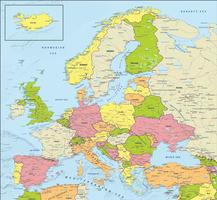 Digital map Europe political
