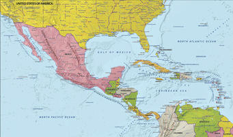Digital map Central America with relief