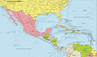 Digital map Central America political
