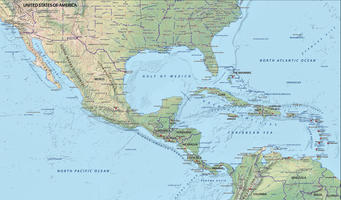 Digital map Central America physical