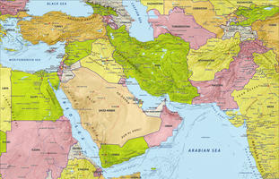 Digital map Middle East with relief