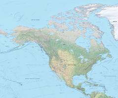 Digital map North America physical