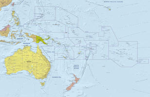 Digital map Oceania with relief