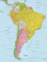 Digital map South America with relief