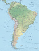 Digital map South America physical