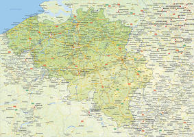 Digital physical map of Belgium