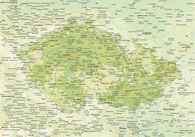 Digital physical map of Czech Republik