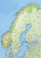 Digital physical map of Norway