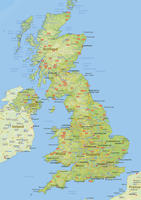 Digital physical map of United Kingdom