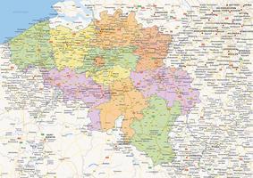 Digital political map of Belgium