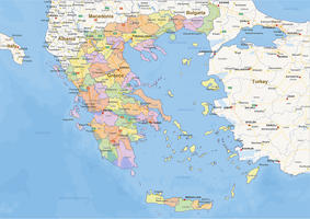 Digital political map of Greece