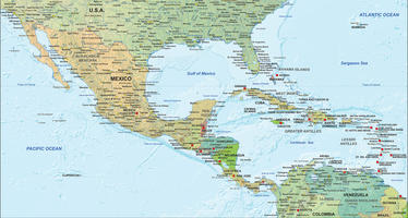 Digital map Central America political with relief