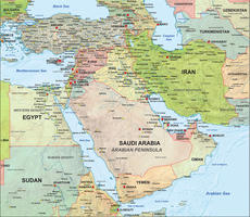 Digital map Middle East political with relief