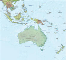 Digital map Oceania physical with relief