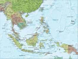 Digital map Southeast Asia with relief