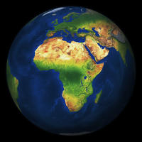 Digital globe Africa with relief