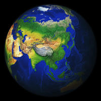 Digital globe image Asia with relief