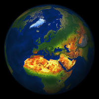 Digital world globe image Europe with relief