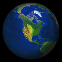 Digital world globe image North America with relief