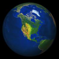 Digital world globe image North America with relief