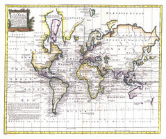 Digital World Map Year 1744 Bowen