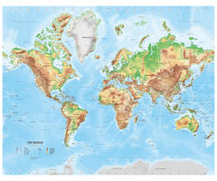 Digital physical  map of The World medium
