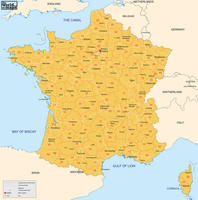 Digital postal code map France 2-digit