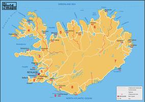 Digital postcode map Iceland 3-digit