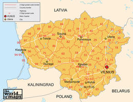 Digital postcode map Lithuania 2-digit