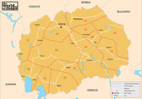 Digital postal code map Macedonia 2-digit
