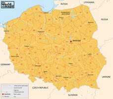 Digital postcode map Poland 2-digit