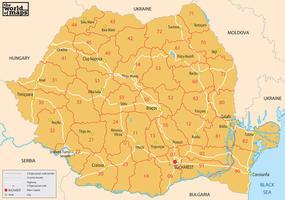 Digital postcode map Romania 2-digit