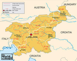 Digital postcode map Slovenia 2-digit