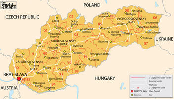 Digital ZIP code map Slovakia 2-digit