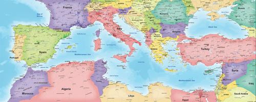 Digital map countries around the Mediterranean Sea