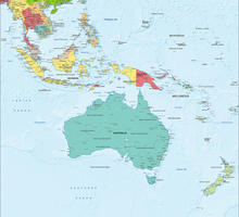 Digital map Oceania political