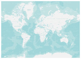 Digital World Map Aquatic