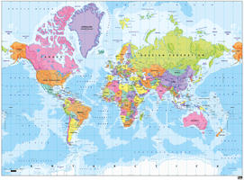 Political world map colourful