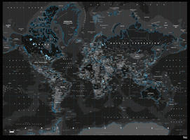 Digital world map black ice