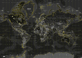 Digital world map yellow flash